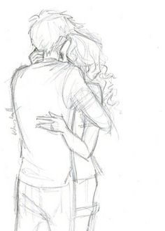 Percabeth Fanart by Burdge bug This sketch. Burdge must be a wizard because this is pure magic. I have no idea how she manages to convey such deep emotion in seemingly simple sketches like these but I hope that she never stops Romantic Couple Pencil Sketches, Cute Couple Drawings, Couple Sketch, Love Drawings, Couple Art, Cartoon Drawings, Drawing Sketches, Art Drawings, Simple Sketches