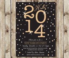 A printable invite adds some pizazz to a New Year's party.