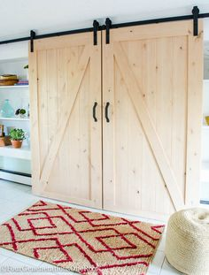 DIY sliding barn doors. Easy to install kit which includes all rolling door hardware.