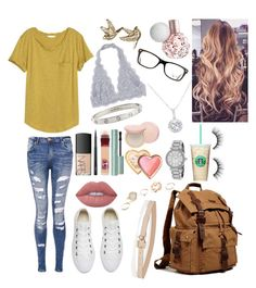 """""""School 76"""" by ella-goodness on Polyvore featuring H&M, NARS Cosmetics, Cartier, Ray-Ban, Lime Crime, MAC Cosmetics, Maybelline, Too Faced Cosmetics, EWA and Michael Kors"""