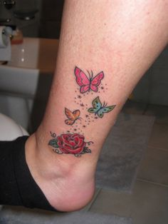 butterfly tattoos on foot | rose and butterfly tattoo by ~91Elena91 on deviantART