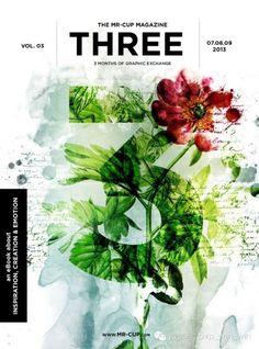 THREE magazine cover, mixed media layout