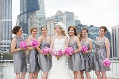 Silvery gray bridesmaid dresses. Short and sweet!    Venue: Nacional 27 | Photographer: Peter Wynn Thompson