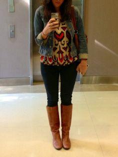 brown boots + black jeans + denim jacket
