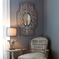 I need this mirror, and the chair.                                          (layla grayce   aidan gray decor wooden mirrror fleur de lis)... what you do with an open corner!