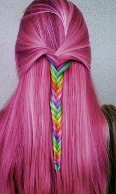 Pink hair and rainbow hair.