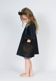 Girls Vintage Blue thin Wool dress / wire hairband / purse    $59