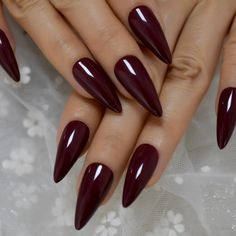 Maroon Almond | Etsy Almond Nails Designs Burgundy Acrylic Nails, Maroon Nails, Almond Acrylic Nails, Cute Acrylic Nails, Glue On Nails, Red Nails, Acrylic Nail Designs, Hair And Nails, Maroon Nail Designs