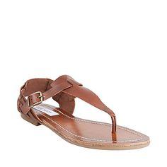 BORDWLK COGNAC LEATHER women's sandal flat thong - Steve Madden