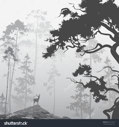 stock-vector-foggy-landscape-with-silhouette-of-forest-pine-trees-and-deer-222777022.jpg (1493×1600)