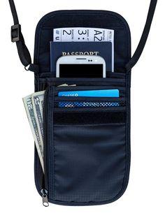 Travel Navigator Neck Wallet and Passport Holder with RFID Blocking - Black