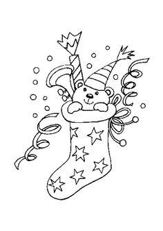 Une chaussette ornée de petites étoiles avec un petit ourson dedans, à colorier