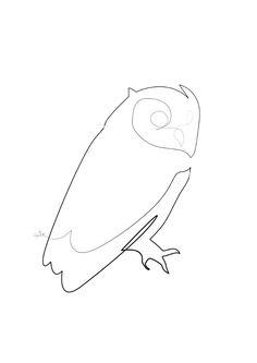 One line owl Art Print