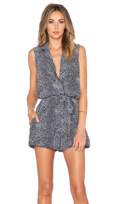 5cddd1ed8b6 Equipment Animal Printed Sleeveless Earl Romper in True Black Silk Romper