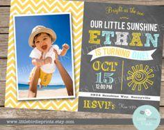 SUNSHINE Invitation Birthday Party Chalkboard BOY Vintage Sun -  You are my Sunshine First Birthday