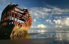 abandoned ship, the Peter Iredale,  near Seaside, Oregon