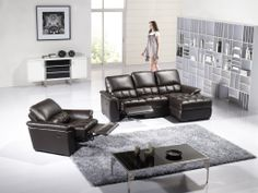 Chocolate Leather Reclining Sectional Sofa Set Chaise Chair Recliner