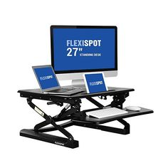 FlexiSpot Stand Up Desk - wide Height-Adjustable Standing Desk Riser with Removable wider keyboard tray Sit Stand Workstation, Stand Up Desk, Best Standing Desk, Standing Desks, Desk Riser, Work Station Desk, Work Desk, Amazon Prime Day, Adjustable Desk