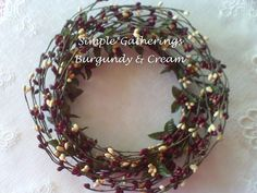 """6"""" Pip Berry Candle Ring / Wreath BURGUNDY & CREAM MIX Berries Crafts Supply #Unbranded #cottagecountryprimtive"""
