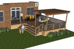 large deck plans | Thes deck plan is for a very large L-shaped deck with a pergola over ...