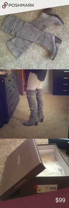 """GORGEOUS OVER THE KNEE GRAY SUEDE BOOTS Apepazza 'New Orleans' size 10 boot with rugged sole and stacked heel. Heel approx 3 1/4"""" with 3/4"""" platform. Suede upper and lining, soft as butter. Criss cross strap detail around knee. Approx boot shaft height 22 1/2"""", 14 1/2"""" calf circumference. With box and cloth bag from manufacturer. Worn once.  I will do my best to answer questions prior to purchase.  I do accept reasonable offers, and discount for bundles.  I will consider trades on Poshmark…"""