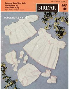 Vintage baby cardigan bonnet dress booties mittens set by libellum