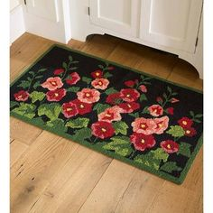 "Machine-Washable Accent Rug Hollyhocks, 24 ""X – Plow & Hearth, Adult Unisex – Outdoor Rugs patio Outdoor Carpet, Outdoor Rugs, Indoor Outdoor, Accent Rugs, Accent Decor, Machine Washable Rugs, Rug Hooking Patterns, Fabric Rug, Rectangle Area"