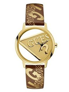 2f84b8f7cdf GUESS Originals Gold-Tone and Brown Watch at Guess. Gold LogoGuess  WatchesJewelry ...