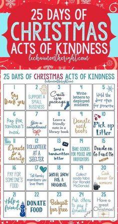 Get into the Christmas spirit of giving with this 25 days of Christmas acts of k#Christmas#Ideas
