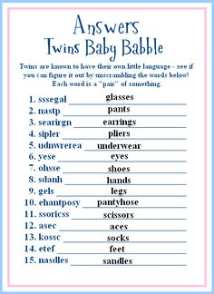 twins baby shower game ideas