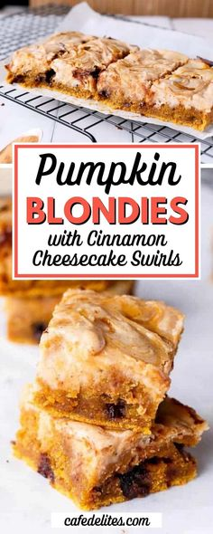Cinnamon Cheesecake Swirled Pumpkin Blondies are the perfect fall dessert! These moist and fudgy pumpkin blondies are filled with melt-in-your-mouth chocolate chips to make the best blondie you've ever had in your life. Poke Cake Recipes, Sheet Cake Recipes, Slow Cooker Recipes Dessert, Best Dessert Recipes, Fruit Crisp Recipe, Cinnamon Cheesecake, My Dessert, Easy Food To Make, Fall Desserts