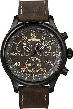 Men's Timex Expedition Field Chronograph Watch with Leather Strap - Black/Brown Men's, Size: Small watches rolex watches Military watches Movado watches nixon watches vintage Field Watches, Sport Watches, Cool Watches, Watches For Men, Wrist Watches, Rugged Watches, Leather Watches, Cheap Watches, Bracelet Or Rose