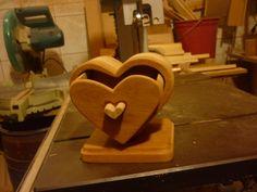 porta joia em coração em madeira