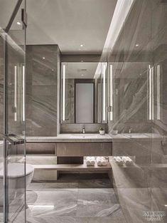 京玺国际丨西安长安金茂府样板间设计_美国室内设计中文网 Luxury Lighting, Luxury Home Decor, Luxury Interior Design, Luxury Homes, Washroom Design, Bathroom Interior Design, Marble Tile Bathroom, Beautiful Curtains, Model Homes