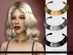 Lunar Choker Found in TSR Category 'Sims 4 Female Necklaces' The Sims, Sims 4 Cas, Sims 1, Maxis, Sims 4 Characters, Sims Hair, Queen Makeup, Gold Eyeshadow, Sims 4 Clothing