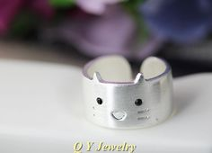 Silver Plated Mid Finger Boho Chic Hello Kitty Wedding Ring Hippie Brass Knuckle Animal Cat Ring Ladies Rings For Women Fashion