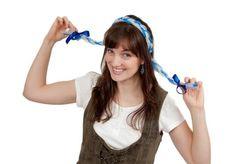 Oktoberfest Costume Braids With Functioning Blinking Lights Blue