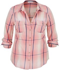 Plus Size Plaid Shirt In Pink Girl Outfits, Cute Outfits, Fashion Outfits, Fashion Ideas, Fashion Inspiration, Party Fashion, Girl Fashion, Womens Fashion, Pink Plaid Shirt