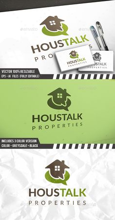 House Talk Logo by BossTwinsArt Package Professional Design Vector 100 resizable. You can change text and colors very easy using the named and organized layers t