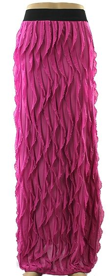 Solid Ruffle Long Skirt