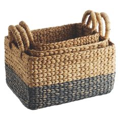 COBY Set of 3 multi-coloured rectangular water hyacinth baskets