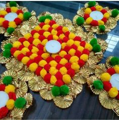 Diwali Decoration Items, Thali Decoration Ideas, Handmade Decorations, Diwali Diy, Diwali Craft, Diwali Rangoli, Diy Home Crafts, Crafts For Kids, Diwali Candles