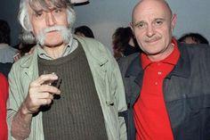 Les pères fondateurs de Charlie Hebdo, François Cavanna (à gauche) et Georges Bernier, alias le Professeur Choron, en octobre 1987 lors de la 300ième du titre. © Patrick Kovarik