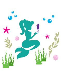 Best Picture For Sealife Cake ocean themes For Your Taste You are looking for something, and it is g Little Mermaid Cakes, Little Mermaid Parties, Ariel The Little Mermaid, Little Mermaid Silhouette, Mermaid Clipart, Mermaid Theme Birthday, Kids Room Paint, Mermaid Coloring, Stencil Templates