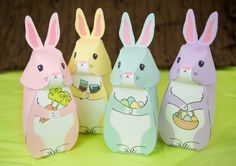 DIY Printable Easter Bunny Gift Boxes, Easter Party Favor Boxes, Spring Celebrations by LittleLuxuriesLoft on Etsy https://www.etsy.com/listing/222942826/diy-printable-easter-bunny-gift-boxes