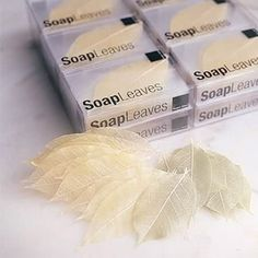 Soap Leaves - The soap is made through a process in which soap resin is mixed with a secret Thai formula, then hand poured over a dried and cured lattice-like frame of real mango tree leaves to form individual soaps of unmatched exquisiteness Homemade Beauty, Diy Beauty, Savon Soap, Soap Packaging, Cold Process Soap, Soap Recipes, Home Made Soap, Handmade Soaps, Bar Soap
