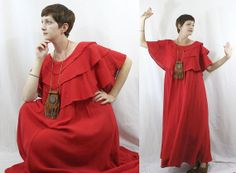 ViNtAgE 70s CAFTAN DRESS Gauzy Red Ruffle by somethingborrowedvtg, $52.00