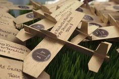 Getting married in an airplane hanger? Is your theme: Travel / Journey ?  place cards/ gifts/ departure theme!