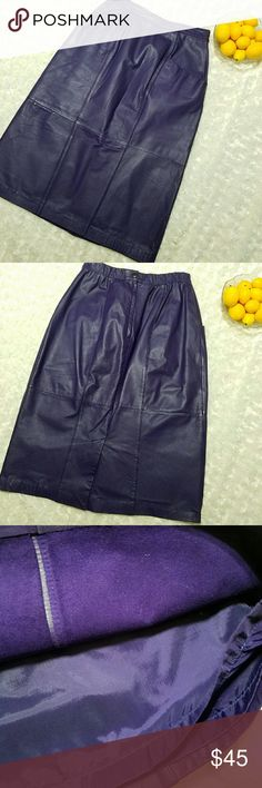 """Vintage 80's 90's leather skirt Deep purple vintage leather skirt! Pockets in front. Zipper, snap and elastic in the back. Fully lined. EUC   Measures: Waist flat- 12"""" Hips flat 15"""" Length- 25"""" Jacqueline Ferrar Skirts Pencil"""