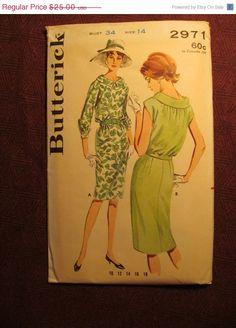 SALE Uncut 1960's Butterick Sewing pattern 2971 by EarthToMarrs, $17.50